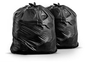 Lixo embalado em sacos plásticos